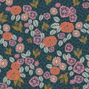 bee garden - linocut spring florals bee pink peach vintage colors andrea lauren