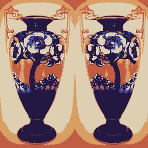 Blue Poppy Art Nouveau - Blu & Gold