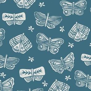 butterflies // block printed butterfly spring insect garden blue indigo