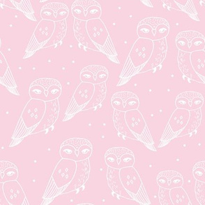 owls // sweet baby pink light pink owls