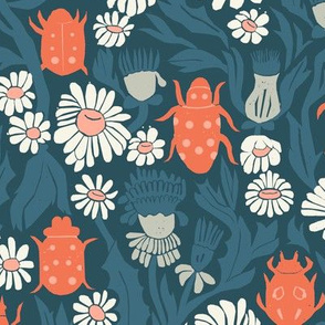 garden // daisies flowers floral spring garden beetle insect flowers block print linocut william morris inspired by andrea lauren