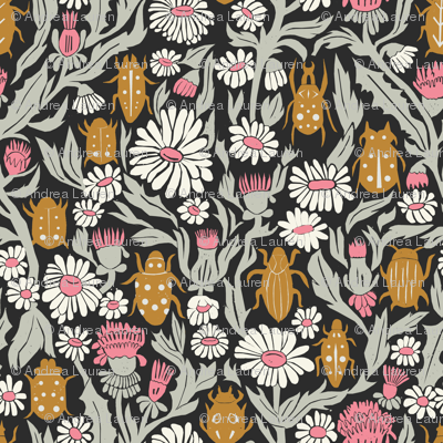 garden // flowers floral traditional william morris inspired linocut block print ladybugs beetles flowers daisies print
