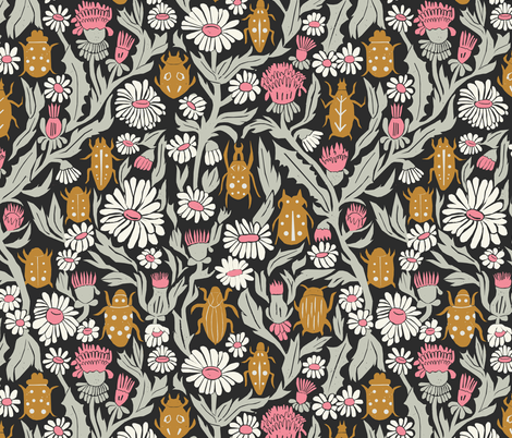 garden // flowers floral traditional william morris inspired linocut block print ladybugs beetles flowers daisies print  fabric by andrea_lauren on Spoonflower - custom fabric