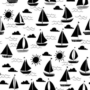 sailboat // black and white summer water boat kids preppy summer