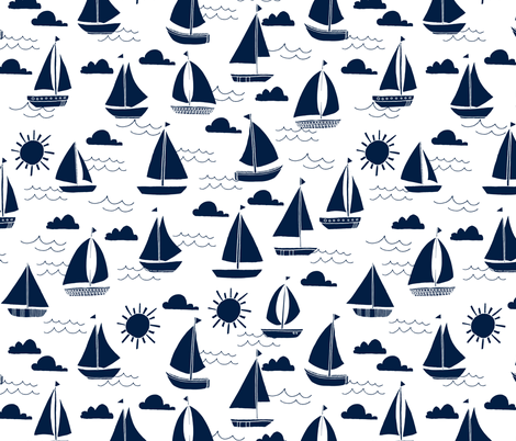sailboats // navy nautical summer ocean water summer kids  fabric by andrea_lauren on Spoonflower - custom fabric