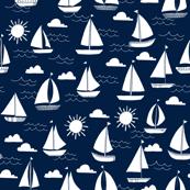 sailboats // navy and white nautical summer ocean cape cod seamless summer print
