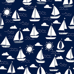 sailboats // navy and white nautical summer ocean cape cod seamless summer print