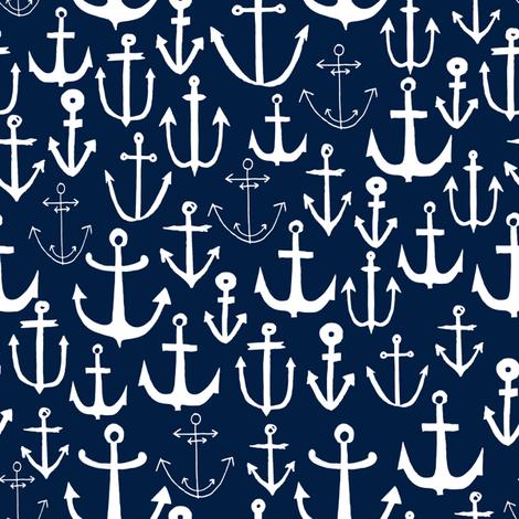 anchors  fabric // anchor fabric andrea lauren fabric navy sailing sailboat summer ocean  fabric by andrea_lauren on Spoonflower - custom fabric