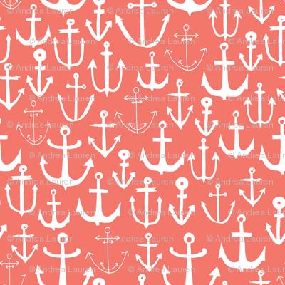 anchor // coral nautical summer water ocean print anchor fabric baby nursery design coral nursery baby girl