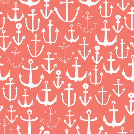 anchor // coral nautical summer water ocean print anchor fabric baby nursery design coral nursery baby girl fabric by andrea_lauren on Spoonflower - custom fabric
