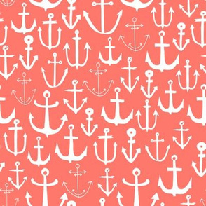 anchor // coral nautical summer water ocean print anchor fabric baby nursery design coral nursery baby girl