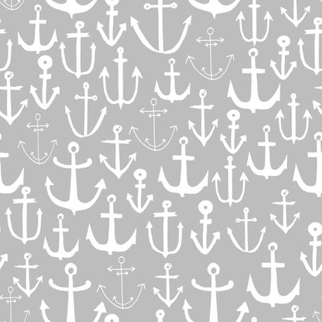 anchor // nautical summer light grey anchors anchor fabric nautical fabric andrea lauren  fabric by andrea_lauren on Spoonflower - custom fabric