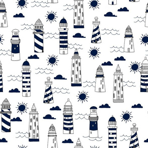 lighthouses // navy and white summer nautical ocean sea design