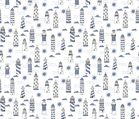 lighthouses // summer nautical blue ocean water sun fabric by andrea_lauren on Spoonflower - custom fabric
