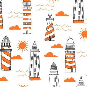 lighthouses // orange and white preppy ocean nautical print