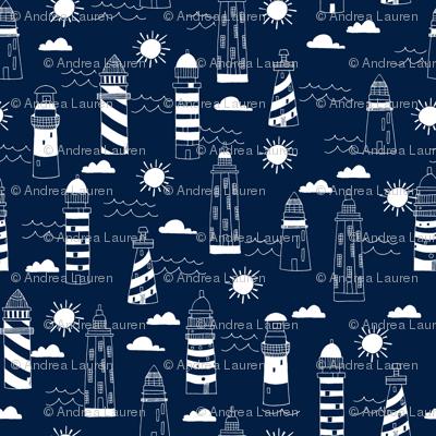 lighthouses // navy nautical summer ocean water print