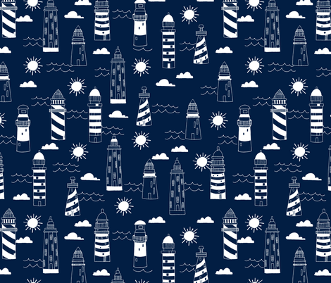 lighthouses // navy nautical summer ocean water print fabric by andrea_lauren on Spoonflower - custom fabric