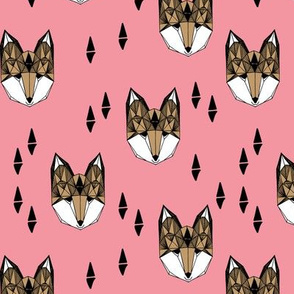 fox // fox head flamingo pink coral pink sweet girls fox print for little girls