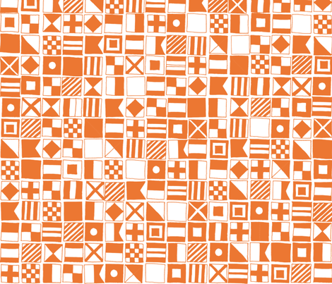 sailing flags // nautical flag ocean water summer orange preppy  fabric by andrea_lauren on Spoonflower - custom fabric