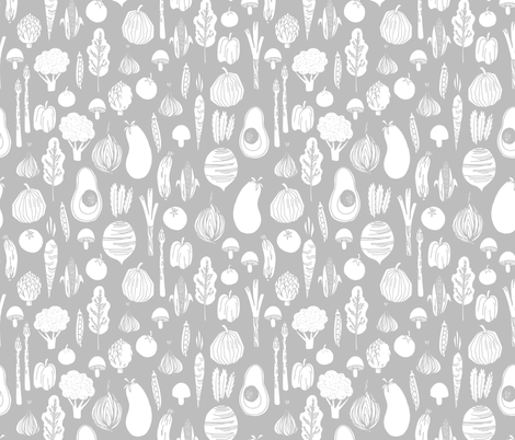 vegetables // farmers market grey vegan avocado beet summer food vegetables fabric by andrea_lauren on Spoonflower - custom fabric