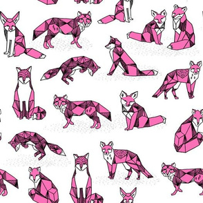 fox // pink foxes girls fox print white background kids girls