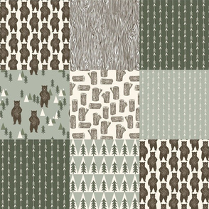 forest bear quilt // green woodland outdoors forest woodgrain squares wholecloth cheater quilt