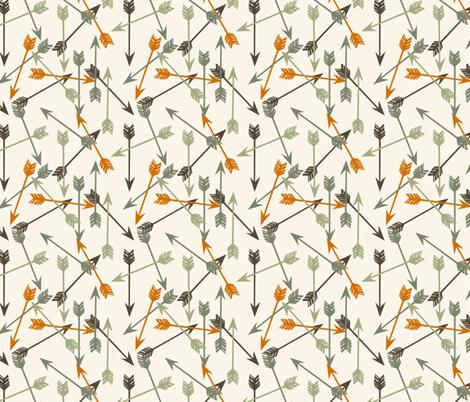 arrows // outdoors khaki green orange brown cream boys men print fabric by andrea_lauren on Spoonflower - custom fabric