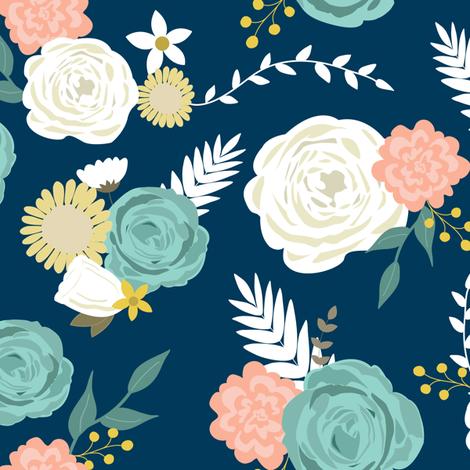 Summer blooms navy fabric by mintpeony on Spoonflower - custom fabric