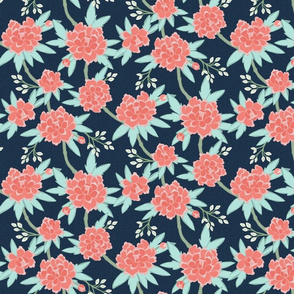 Paeonia in Coral and Mint on Navy, half scale