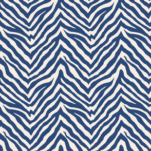 Zebra in navy, half scale