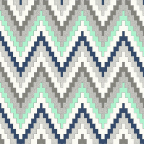 Luxe Chevron in Navy, Charcoal and Mint, half scale