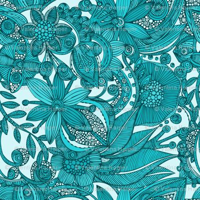 Flowers doodles blue