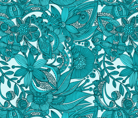 Flowers doodles blue fabric by valentinaharper on Spoonflower - custom fabric