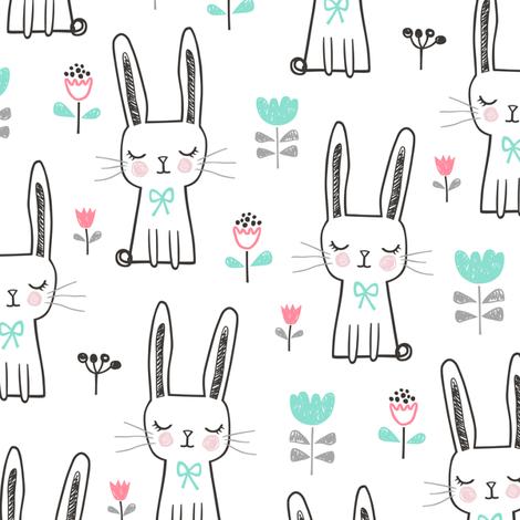 Dreamy Bunny Rabbit fabric by caja_design on Spoonflower - custom fabric