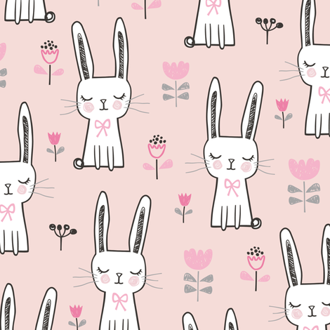 Dreamy Bunny Rabbit in Pink fabric by caja_design on Spoonflower - custom fabric