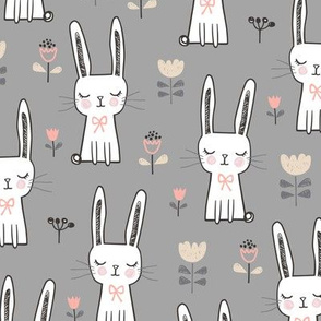 Dreamy Bunny Rabbit on Grey