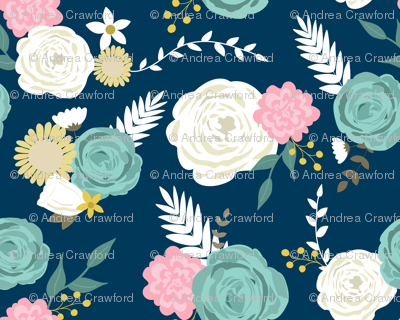 Blooms on navy 2