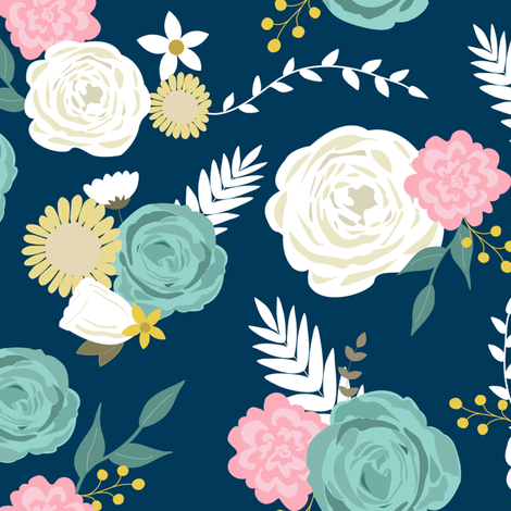 Blooms on navy 2 fabric by mintpeony on Spoonflower - custom fabric