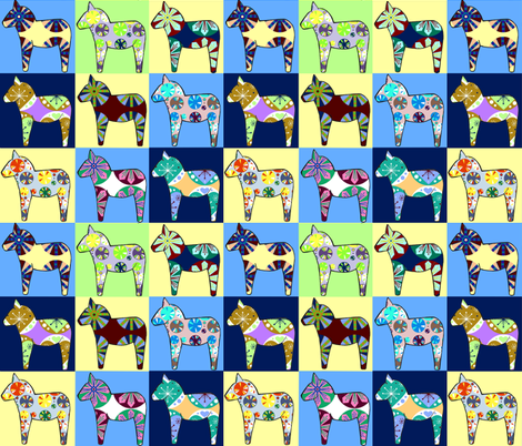 horse_checks_2 fabric by katesbeads on Spoonflower - custom fabric