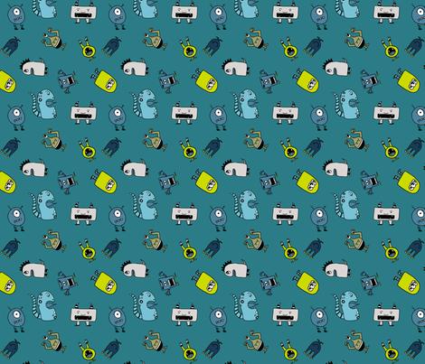 Little Monsters in Blue fabric by arrowandtheheart on Spoonflower - custom fabric