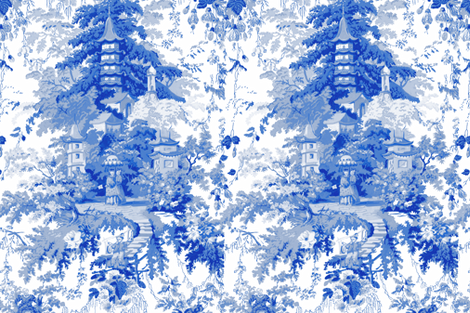 Chinoiserie Palace ~ Willow Blue and White  fabric by peacoquettedesigns on Spoonflower - custom fabric