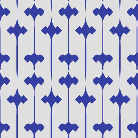 Fleuris (Blue on Bone) fabric by david_kent_collections on Spoonflower - custom fabric