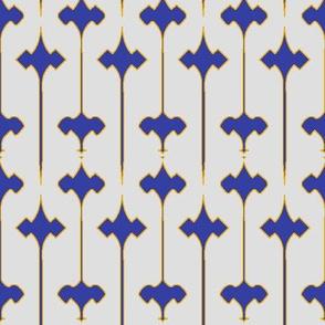 Fleuris (Blue on Bone with Yellow)