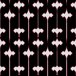 Fleuris (Bone on Black with Red)