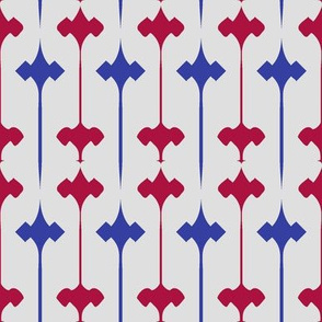 Fleuris (Blue and Red on Bone)