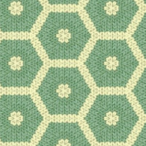 Knitted Green and Cream Honeycombe