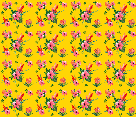 Tropical Bright Yellow Hibiscus  fabric by shopcabin on Spoonflower - custom fabric