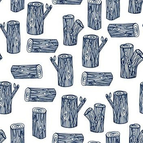 tree logs // navy and white forest tree logs woodland