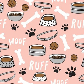 dog bone // paw print dog bowl pet illustration for dog owners