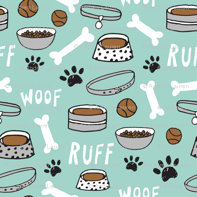 dog bowls // dog accessories bones, dog bone, paw print cute dog illustration pet dog breed pattern